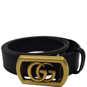 Gucci Navy Framed Double G Buckle Leather Belt